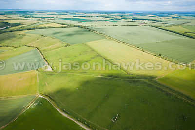 Aerial view over patchwork of fields