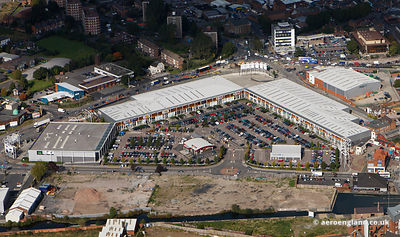 aerial photograph of Crown Wharf Retail Park, Crown Wharf Shopping Park Wolverhampton St .Walsall, West Midlands WS2 8LL  UK