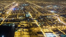 Bird's Eye: Close Up View of Chicago's Urban Light Grids & Snaking Paths of Expressways 2