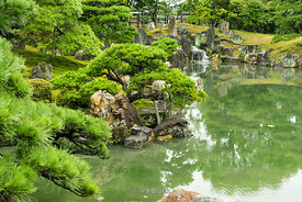 The pond of the Ninomaru Garden at Nijō Castle in Kyoto, Japan.