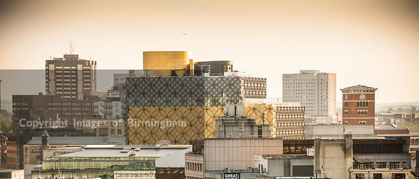 Rooftops of Birmingham, West Midlands, England, UK. Pictured is 3 Brindleyplace, and the new Library of Birmingham.