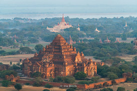 Flying over Dhammayangyi Temple in Bagan, Myanmar.