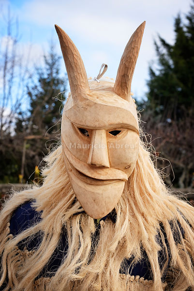 Careto with wooden mask from Lazarim, used during the Carnival. Beira Alta, Portugal