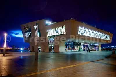 The Mersey Ferry Terminal at Pier Head Liverpool Illuminated at Night