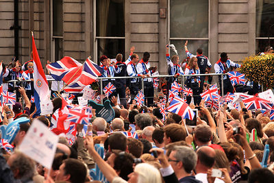 Crowds Cheer Team GB and Paralympics GB Athletes on an Open Top Bus
