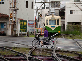 Cycling on rails -Okayama -  Japan