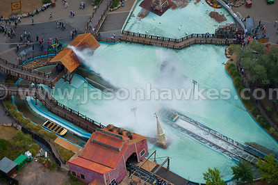 Aerial view of Thorpe Park theme park