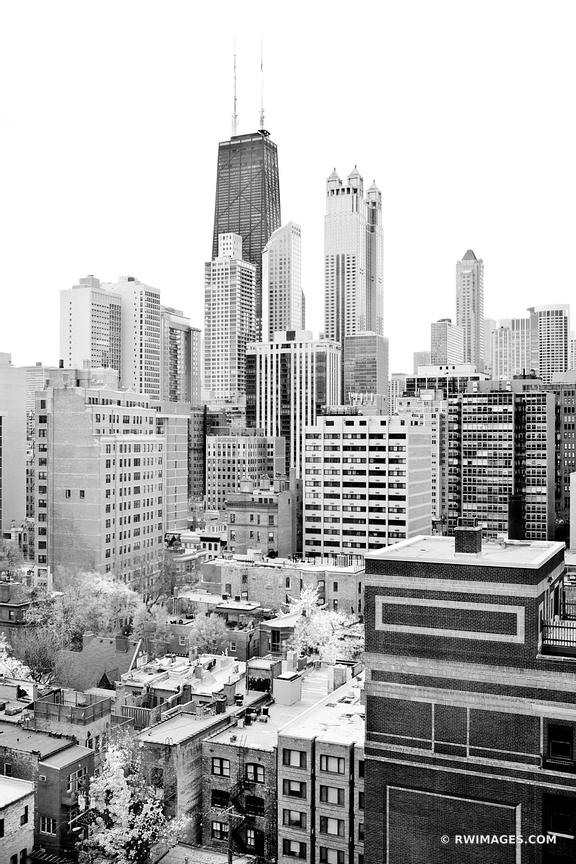 CHICAGO DOWNTOWN BLACK AND WHITE VERTICAL