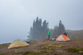Backpackers Before Breakfast in Camp Kiser along the Ptarmigan Ridge Trail