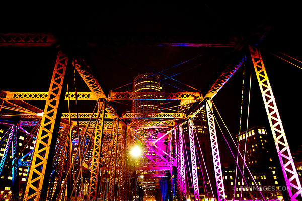 BOSTON BRIDGE AT NIGHT COLOR