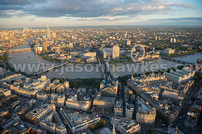 Aerial view of the River Thames and Waterloo, London