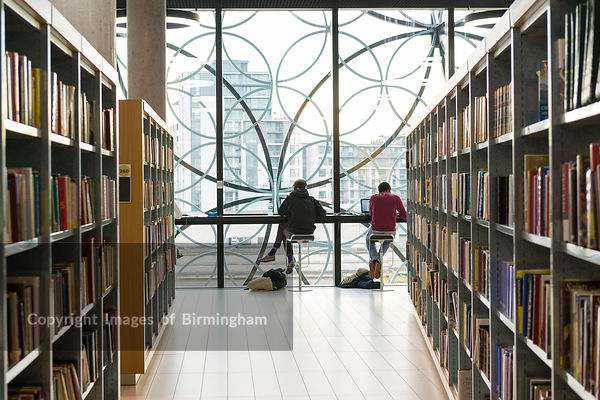 Students working at the new Library of Birmingham, Birmingham, England