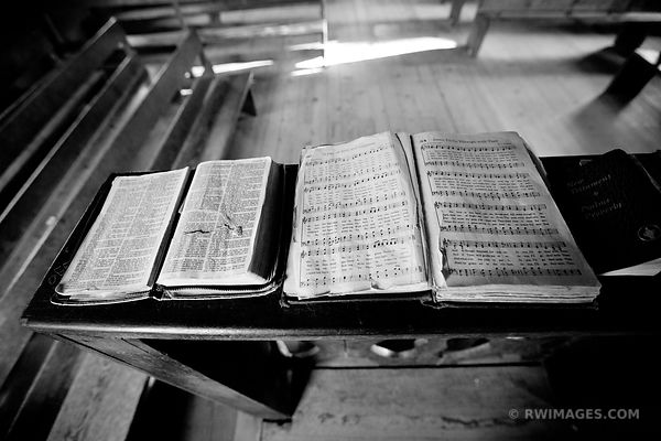 OLD CHURCH BIBLE AND HYMN BOOK CADES COVE SMOKY MOUNTAINS BLACK AND WHITE