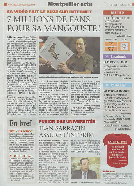 Jérôme Guillaumot, Photographe animalier, Article dans Direct matin