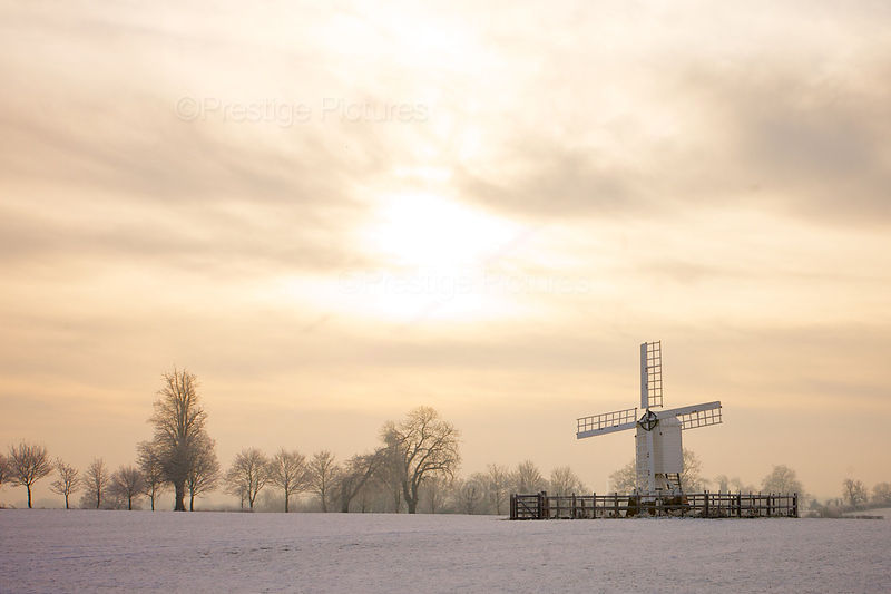 Windmill in North Oxfordshire on a Beautiful Snowy Morning