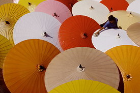 Drying umbrellas