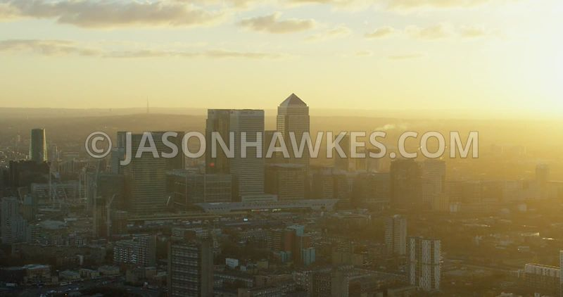 Aerial footage of Canary Wharf at sunset