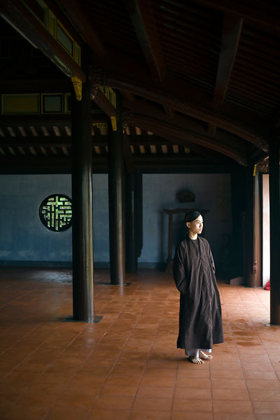 Vietnam -  Hue - A young monk at the monastary at the Thienmu Pagoda