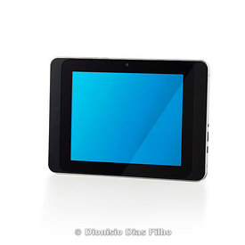 Tablet with bluish screen isolated on white background