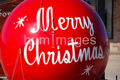 Large red Merry Christmas ornament decoration