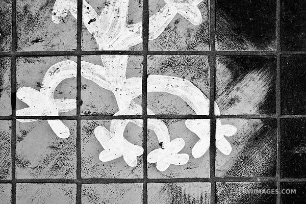 SIDEWALK PAINTING STREET ART SANTA BARBARA BLACK AND WHITE