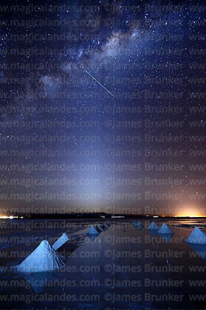 Salt cones, Zodiacal Light, satellite and Milky Way Galactic Centre, Salar de Uyuni, Bolivia