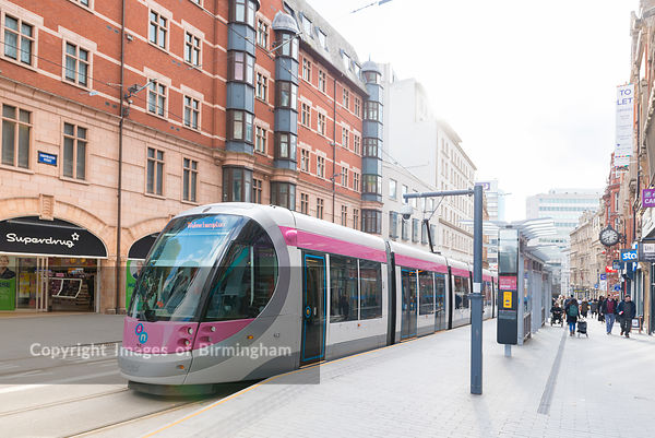 A tram in Birmingham City Centre, England.
