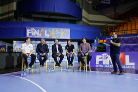 Simon Razgor, Bozidar Djurkovic, Sinisa Ostoic, Raul Gonzales and Goran Antevski during the Final Tournament - Final Four - SEHA - Gazprom league, Handball discussion in Brest, Belarus, 06.04.2017, Mandatory Credit ©SEHA/ Stanko Gruden