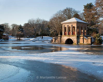 Birkenhead Park boathouse in winter