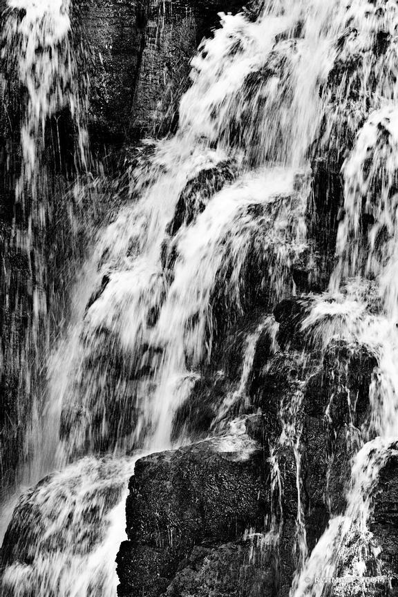 KINGS CREEK FALLS LASSEN VOLCANIC NATIONAL PARK CALIFORNIA BLACK AND WHITE VERTICAL