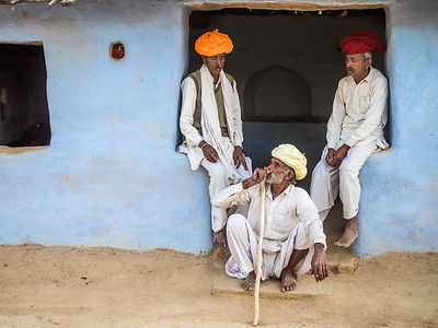 An everyday scene at any Indian village.  This photograph was shot in Jojawar