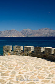 dhikti mountains and mirabello bay from aghios nikolaos, lasithi, crete, Greece.