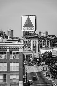 Boston Citgo Sign Black and White Photo