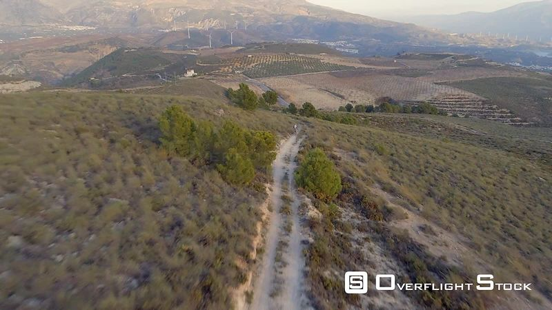 Drone Video Dirt Bike Motorcycle Riders near Granada Spain
