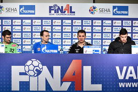 Mirko ALILOVIĆ of MVM VESZPREM, Xavier SABATE of MVM VESZPREM, Raul GONZALES of Vardar, Mihajlo MARSENIĆ of Vardar during the Final Tournament - Final Four - SEHA - Gazprom league, Finals press conference Varazdin, Croatia, 02.04.2016, ..Mandatory Credit ©SEHA/Nebojša Tejić