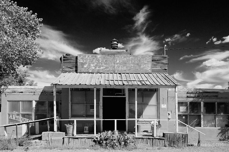 OLD COUNTRY STORE RURAL TOWN TURQUOISE TRAIL NEW MEXICO BLACK AND WHITE