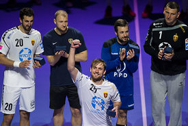 Ilija Abutovic, Ziga Mlakar, Zlatko Horvat, Arpad Sterbik and Luka Cindric during the Final Tournament - Final match - PPD Zagreb vs Vardar - Final Four - SEHA - Gazprom league, Skopje, 15.04.2018, Mandatory Credit ©SEHA/ Sasa Pahic Szabo