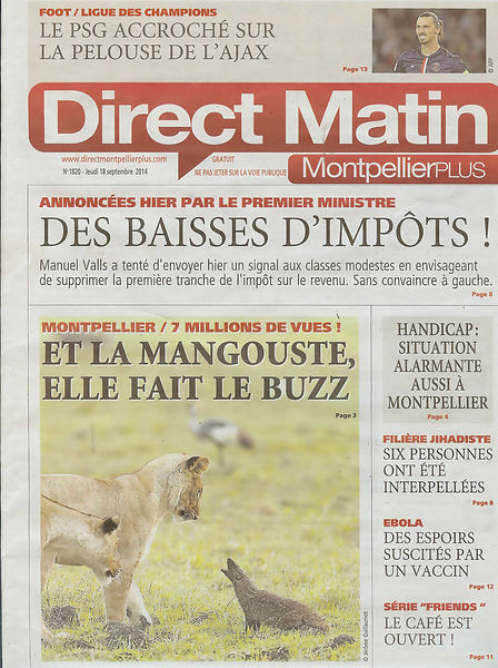 Jérôme Guillaumot, Wildlife Photographer , Direct matin Cover Page