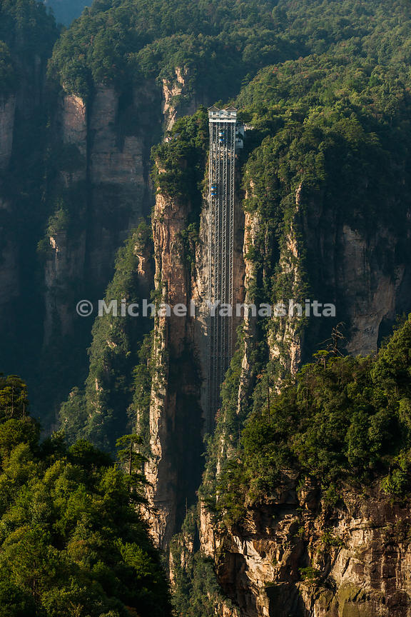 Wulingyuan National Forest Park, World Heritage site, where Avatar was filmed. Pics of elevator, 358 m high speeds tourists to the top of the plateau for views into the valley