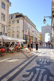 Rua Augusta, the main pedestrian street in the historical and commercial center of Lisbon, Portugal