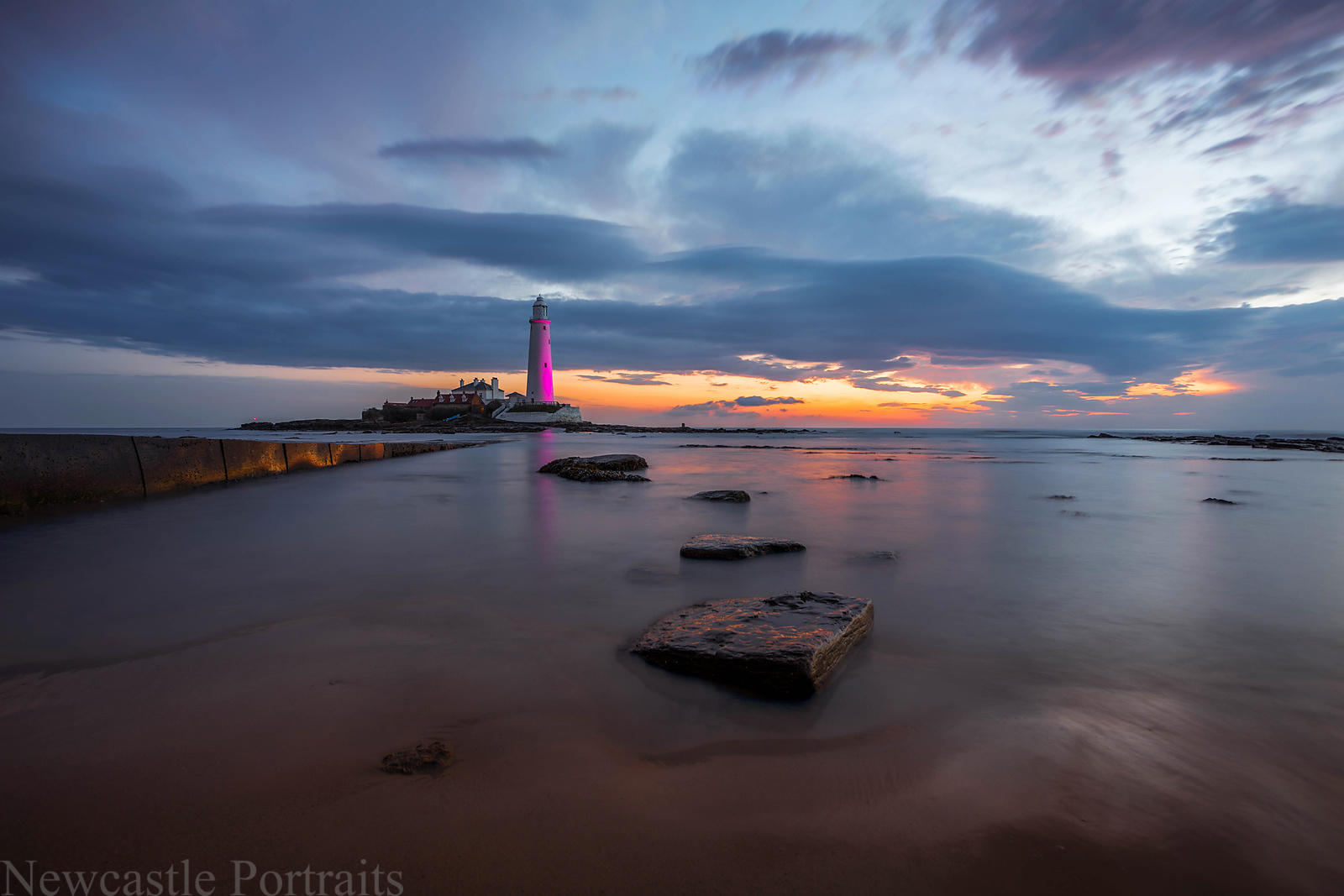 St. Mary's Lighthouse in Pink