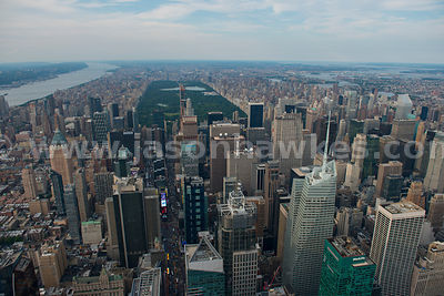 Aerial view across Manhattan, showing Midtown, Times Square and Central Park