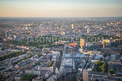 Aerial view of Victoria and Belgravia, London.