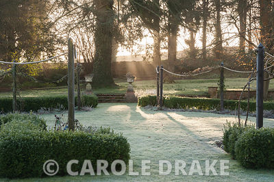 Early morning sun filters through trees to illuminate the formal garden to the south of the house. Welford Park, Newbury, Berks, UK