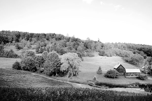 OLD BARN GREEN HILLS RURAL VERMONT BLACK AND WHITE