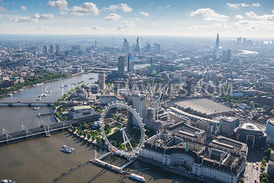Aerial view of London Waterloo and London Eye