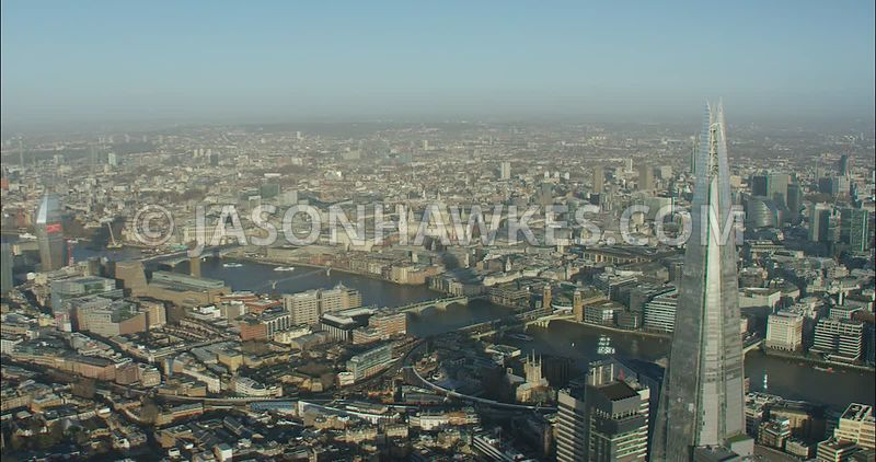 London Aerial footage, The Shard towards 20 Fenchurch Street.