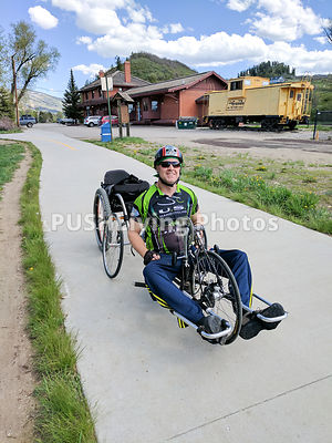 Man out for a days hand cycling