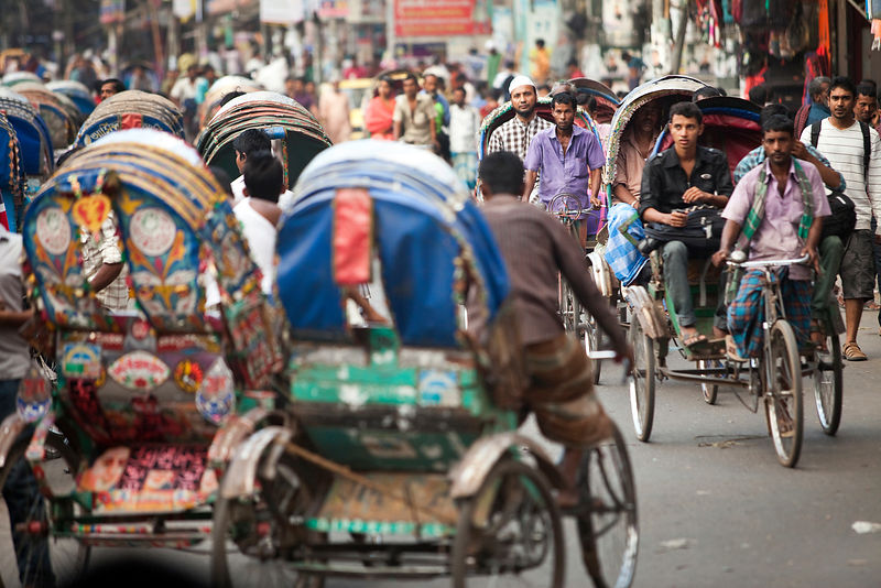 Bangladesh - Dhaka - Rickshaws in heavy traffic in Dhaka