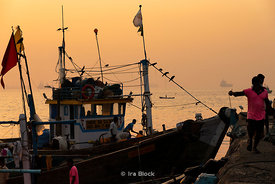 Sunrise over Sassoon dock, one of the largest fish markets in Mumbai, India